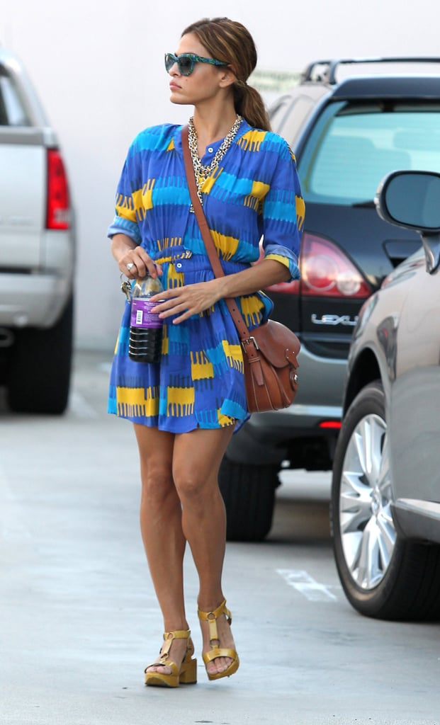 Eva Mendes was a knockout in a bold little Thakoon sundress while out in LA.