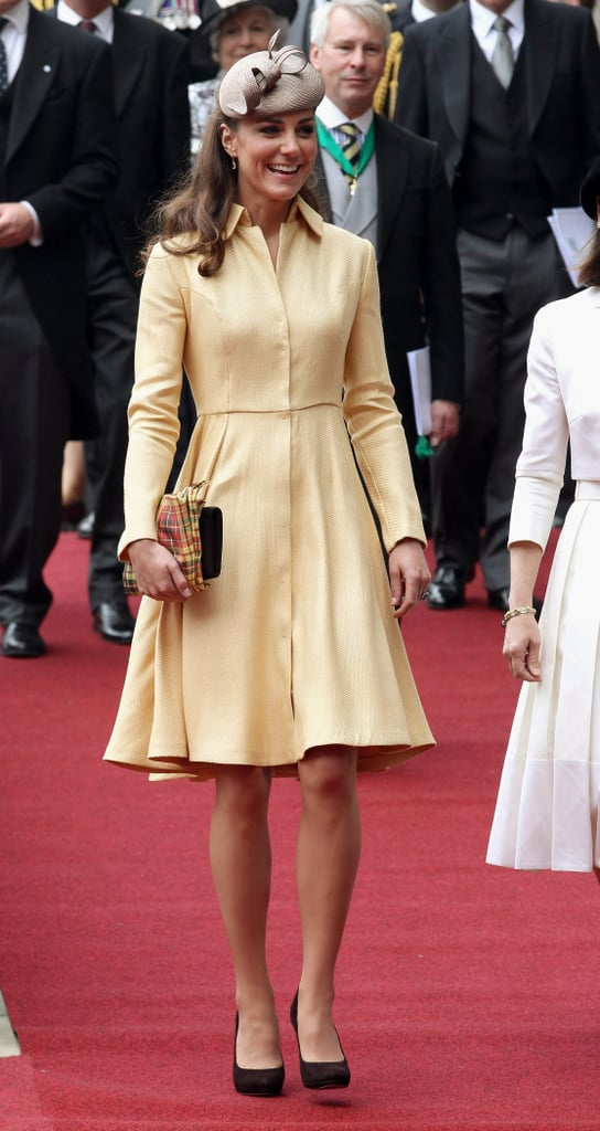 Kate Middleton arrived at the Thistle Ceremony in Edinburgh wearing a yellow Emilia Wickstead dress.