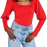 Astr the Label Long-Sleeved Square-Neck Sweater