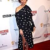 Thandie Newton showed off an elegant twist on polka dots at the BAFTA Tea Party.