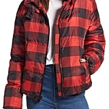 Kendall + Kylie Oversize Plaid Puffer Jacket
