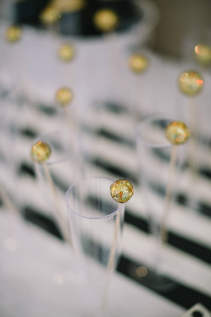 Embellish champagne flutes to make shimmery toasts at midnight.