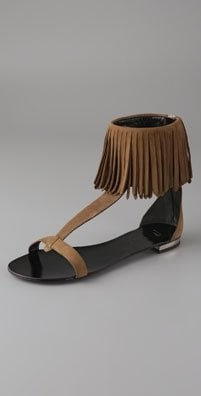 The Look For Less: Balmain Ankle Fringe Sandal