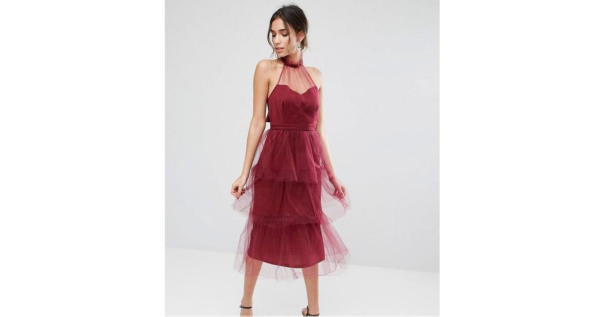 True Violet Tiered Longer Length Midi Dress In Tulle