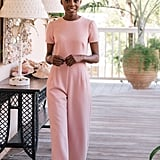 Gal Meets Glam Collection Pearl Trim Jumpsuit