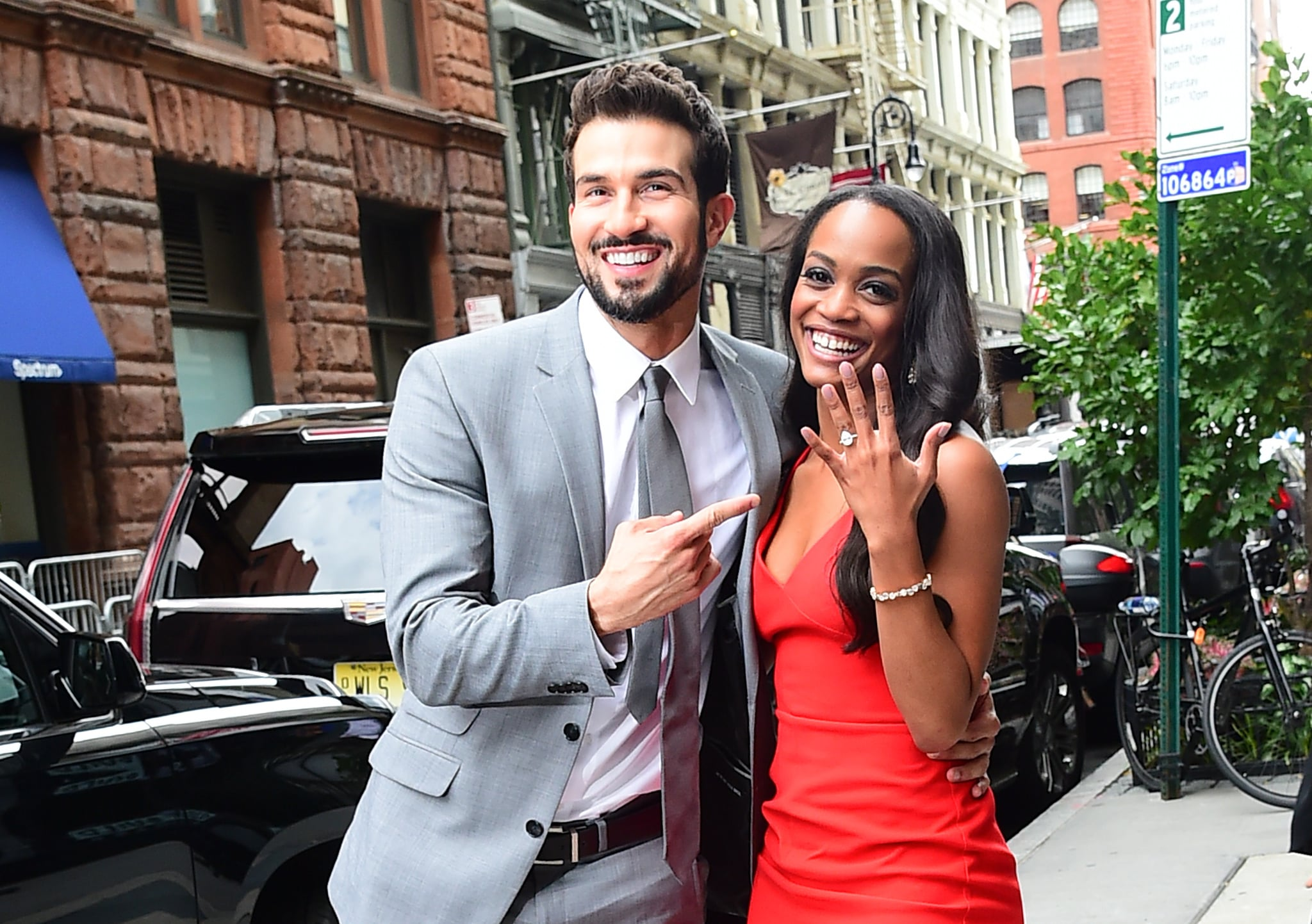 NEW YORK, NY - AUGUST 08:  Bachelorette's Rachel Lindsay and her fiance, Bryan Abasolo arrive at