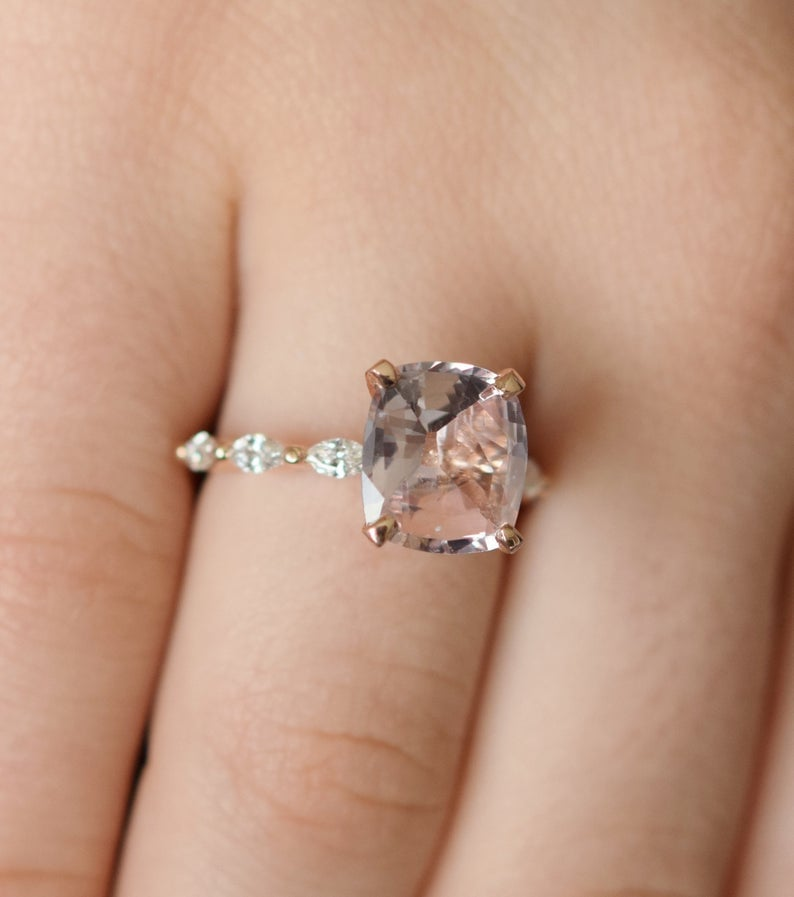 Peach Sapphire Rose Gold Engagement Ring