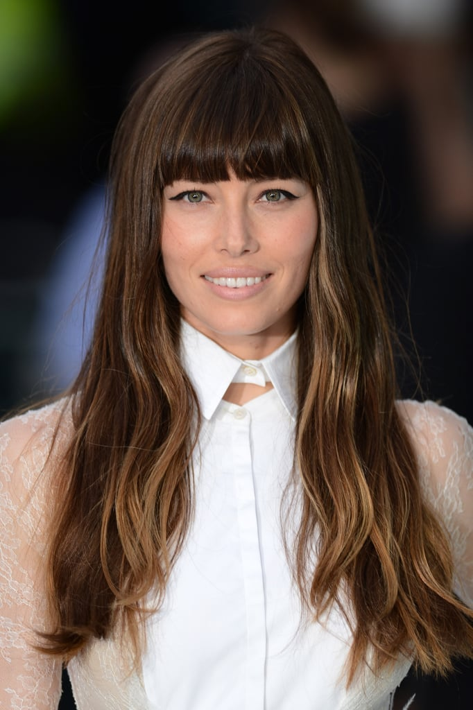 Jessica Biel sported a high collared dress at the UK premiere of her new film Total Recall.