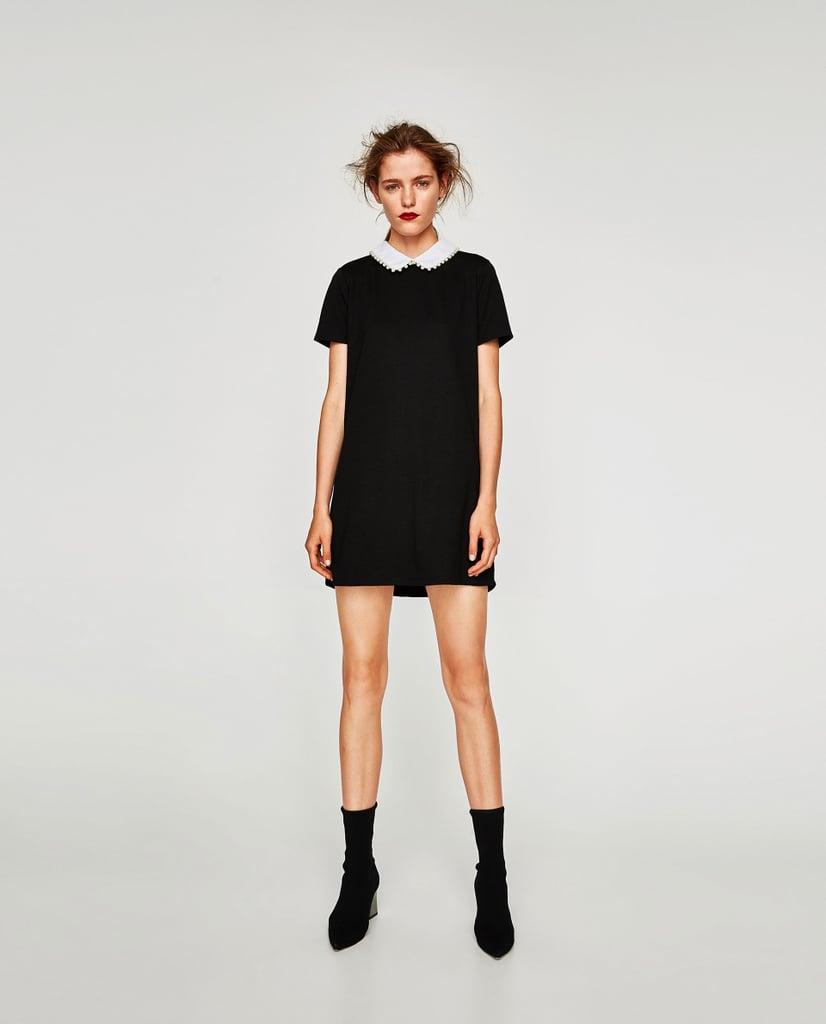 Zara black dress with feathers