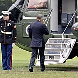 President Obama boards Marine One at the White House on his way to Orlando.