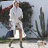 Chrissy took her adorable dog out for a walk dressed in a floaty white coat and oversize scarf.
