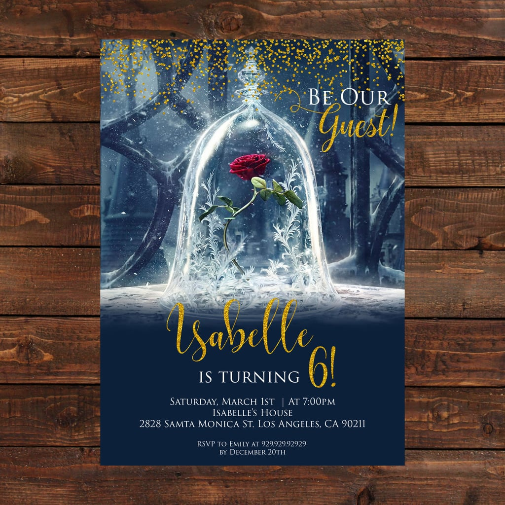 Beauty and the Beast Rose Birthday Party Invitations | Beauty and ...