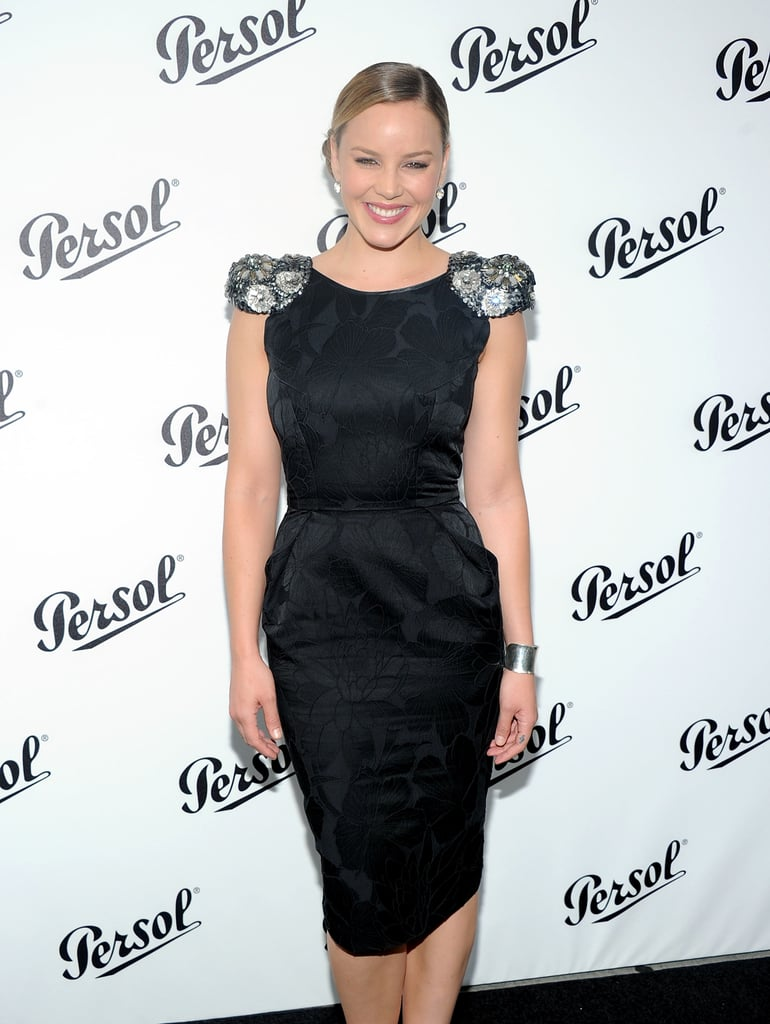 Abbie Cornish looked glamorous in a black dress with embellished sleeves for the Persol Magnificent Obsessions event in NYC.