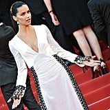 Adriana Lima Drew Attention to the Intricate Lace Sleeves on Her Prada Dress