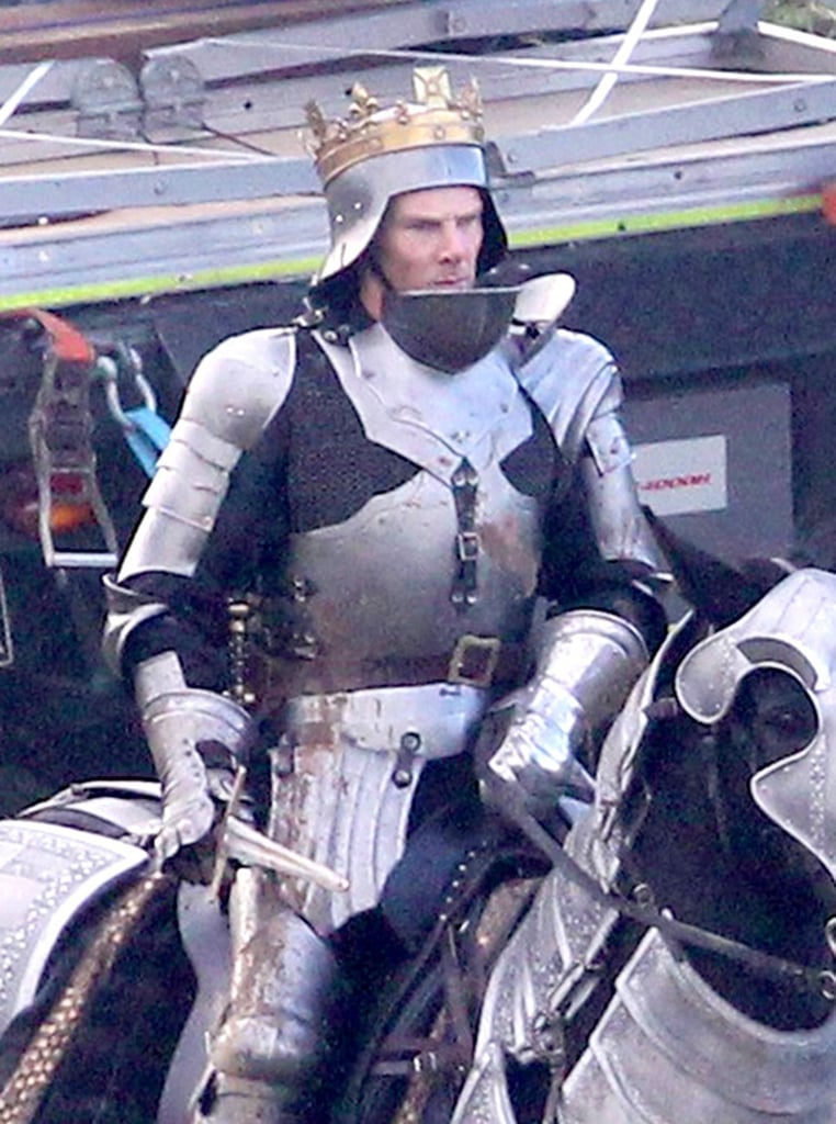Earlier this month, Benedict Cumberbatch began filming on his latest project, The Hollow Crown: The Wars of the Roses, and now we are getting a chance to see him in action. Cumberbatch is portraying controversial monarch King Richard III in the three-part BBC series, and between these epic fight scenes and the brooding picture that the network released two weeks ago, it appears he is really taking to his new role. Keep reading to see the armor-clad actor taking part in a brutal battle scene, and then be sure to check out Cumberbatch's hottest pictures in order to remind yourself that he can be pretty sexy when he isn't playing one of England's most complicated monarchs.