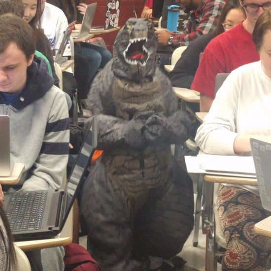Teacher Brings Son to School in Godzilla Suit