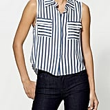 Stripes will add interest to even your most classic suits.  Tinley Road Sleeveless Button-Down Blouse ($39)
