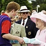Queen Elizabeth II makes a presentation to Prince Harry, 2003