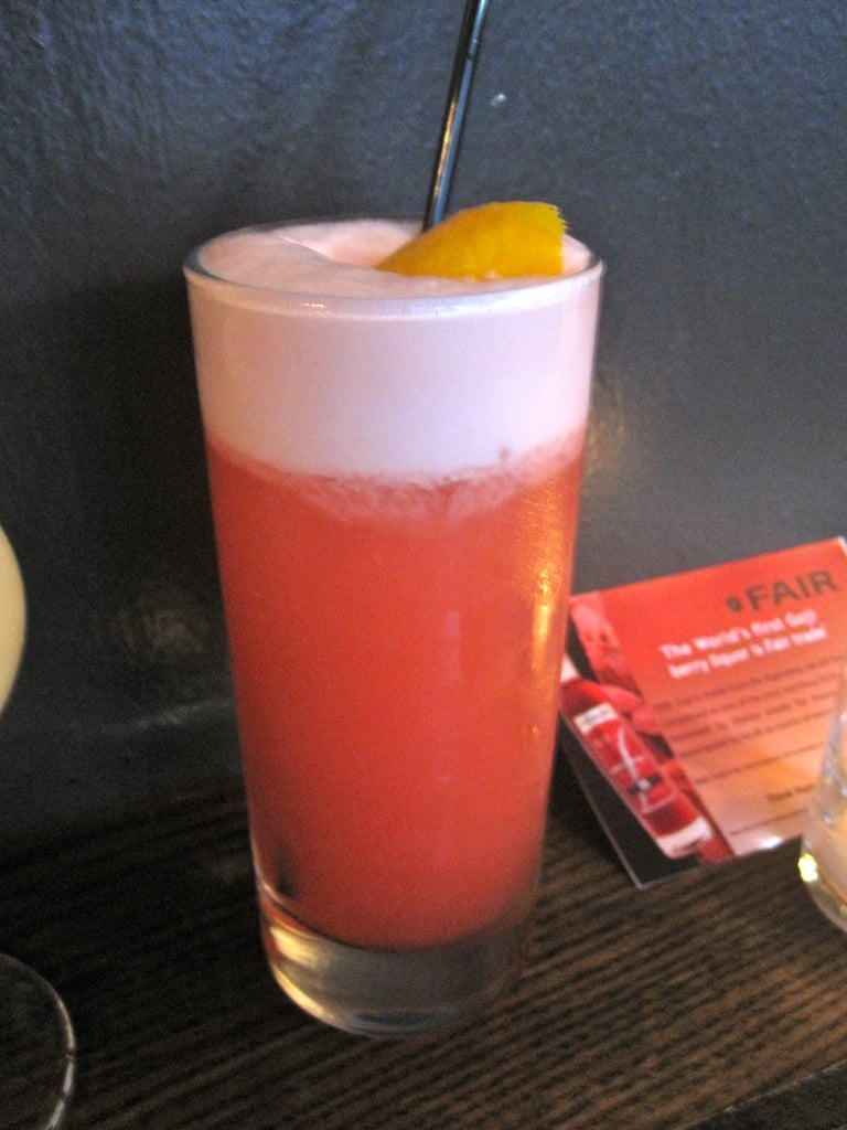 "The ""goji fizz"" consists of vodka, goji liqueur, grapefruit, lemon, and egg white for froth."