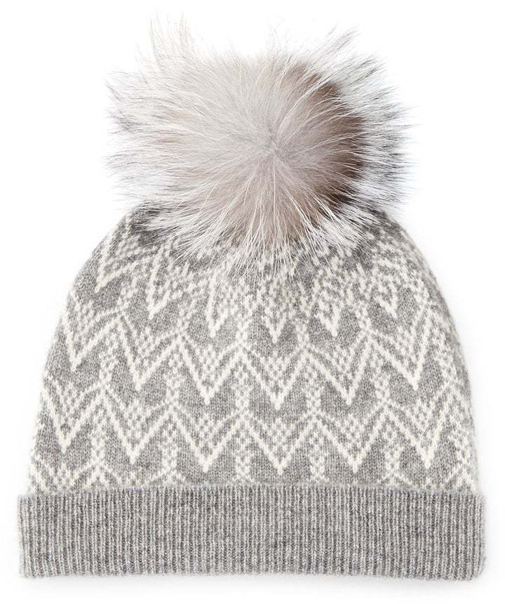 Sofia Cashmere Cashmere Fair Isle Knit Hat With Fur Pom ($115)