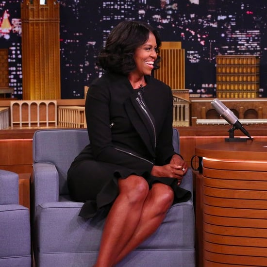 Michelle Obama Black Dress on Jimmy Fallon 2017