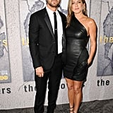For the premiere of The Leftovers, Jen wore a one-shoulder leather dress from Brandon Maxwell to match Justin in his sleek tux.