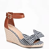 Old Navy Gingham Bow-Tie Espadrille Wedges