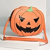 Orange Leatherette Pumpkin Jack-o'-Lantern Crossbody Purse