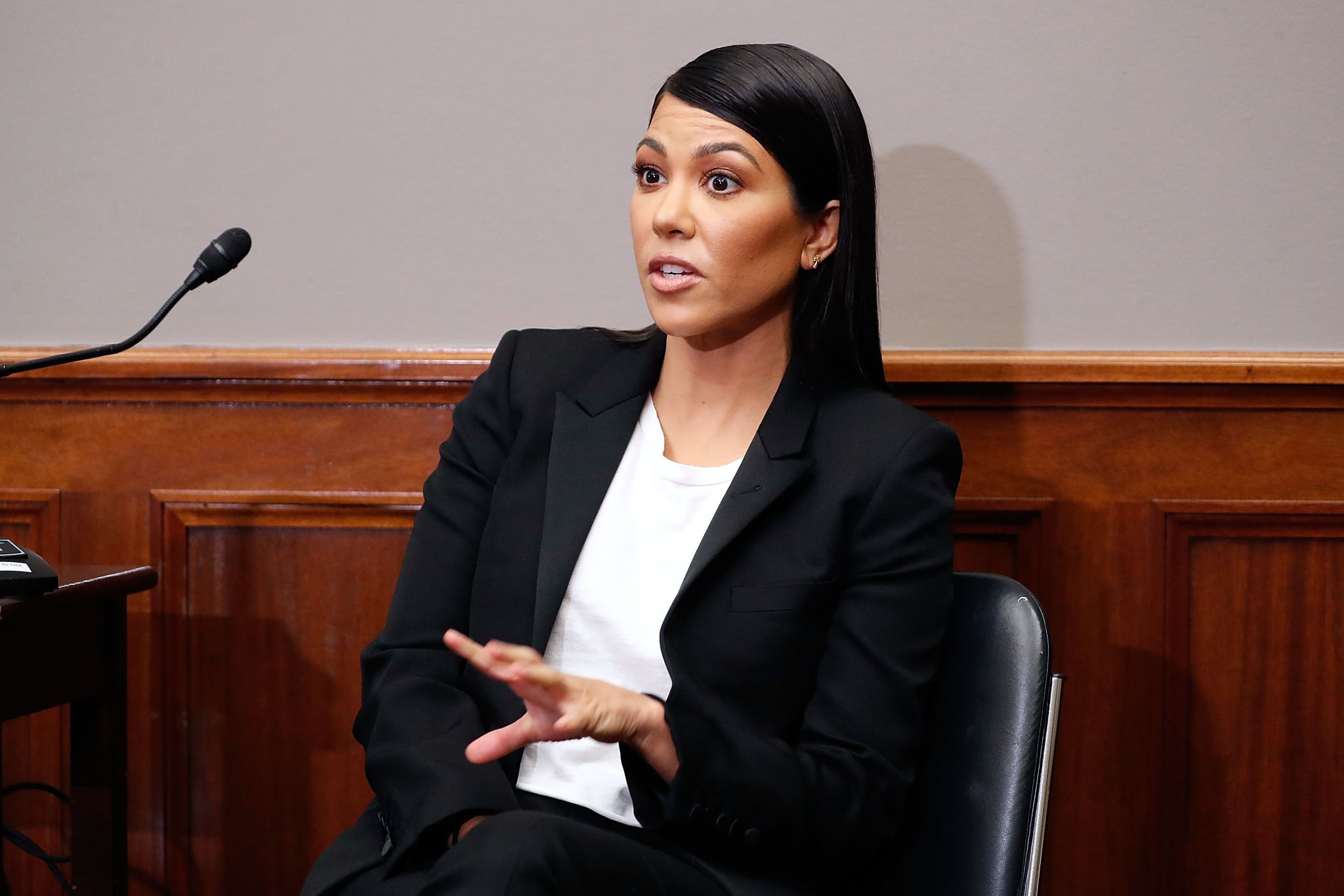 WASHINGTON, DC - APRIL 24:  Reality TV-Star Kourtney Kardashian speaks at a briefing in support of bipartisan personal care products legislation aimed at reforming how the FDA regulates the personal care products industry in the Russell Senate Office Building on April 24, 2018 in Washington, DC. Kourtney Kardashian and her sister Kylie Jenner launch their Kourt x Kylie makeup collection on April 24.  (Photo by Paul Morigi/Getty Images)