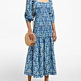 Rhode Resort Harper shirred floral-print cotton midi dress