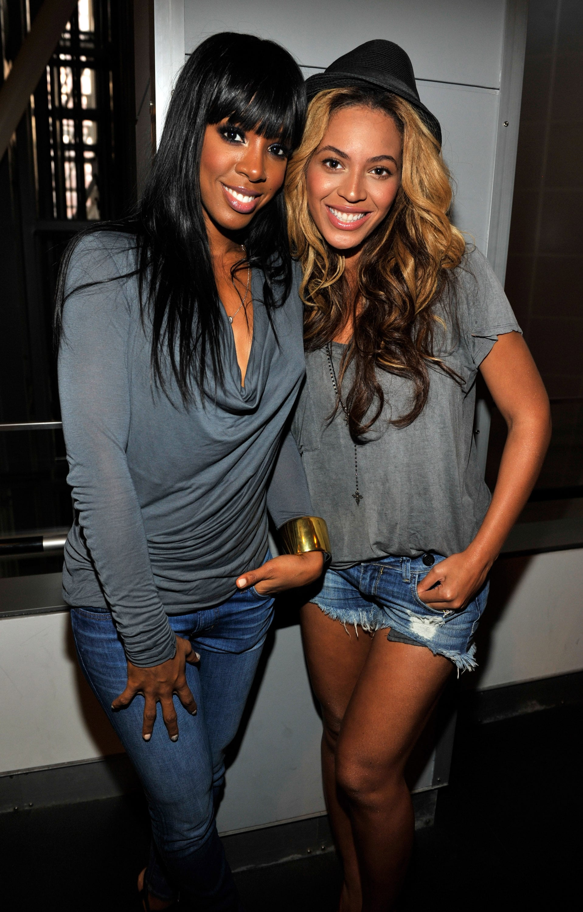 Beyonce Knowles and Kelly Rowland at Watch the Throne's listening party.
