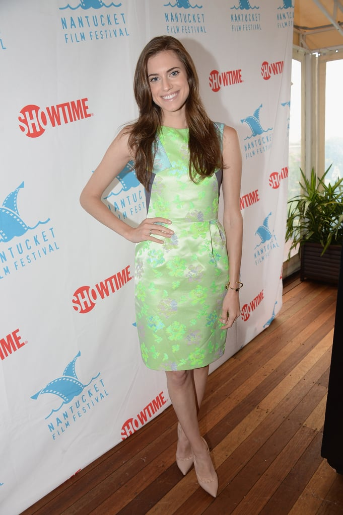 Allison Williams glowed in a printed neon-green dress and nude pumps at an event in Nantucket, MA.