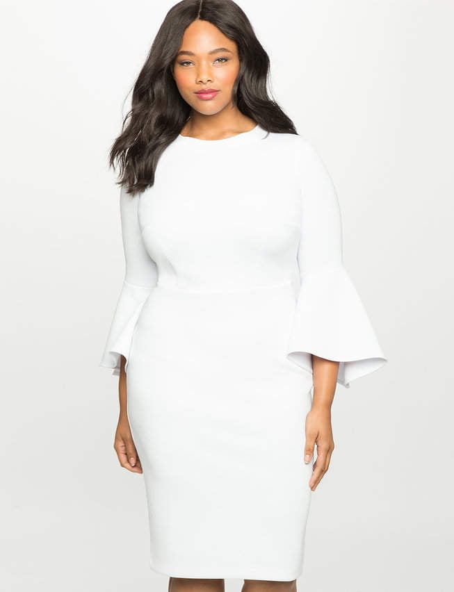 Eloquii Flare-Sleeve Scuba Dress