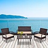 Gymax Patio PE Rattan Wicker Table Sofa Furniture Set