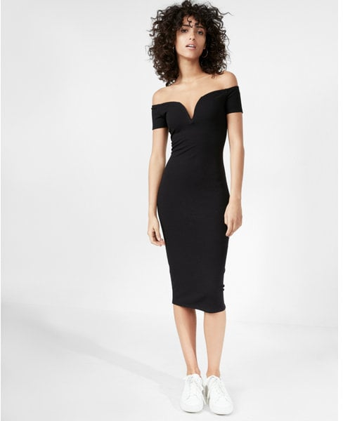 Express Off The Shoulder V Neck Midi Dress Sexy Black Dress
