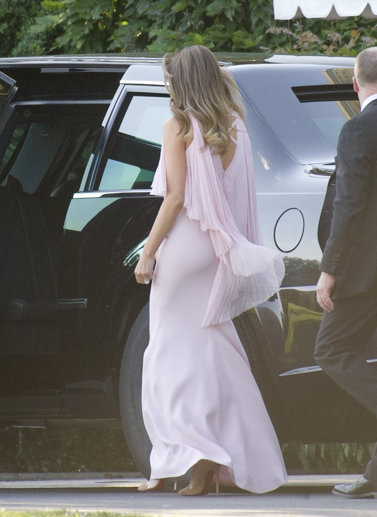 hair style for wedding guest melania pink j mendel dress popsugar fashion 9164