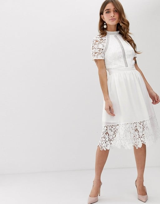 Chi Chi London Petite Lace Detail Skater Dress