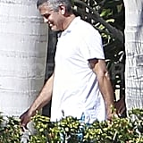 George Clooney smiled on a day out in Cabo.