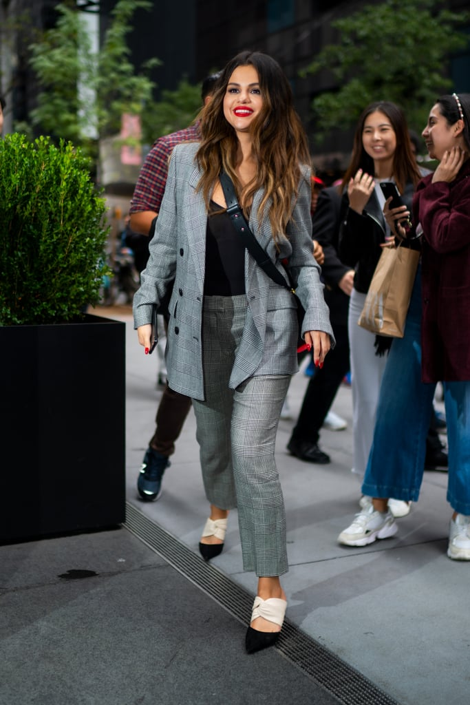 Selena Gomez Wearing a Suit With Mules