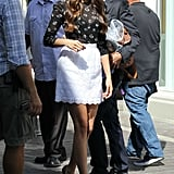 Nina Dobrev sported black pumps.