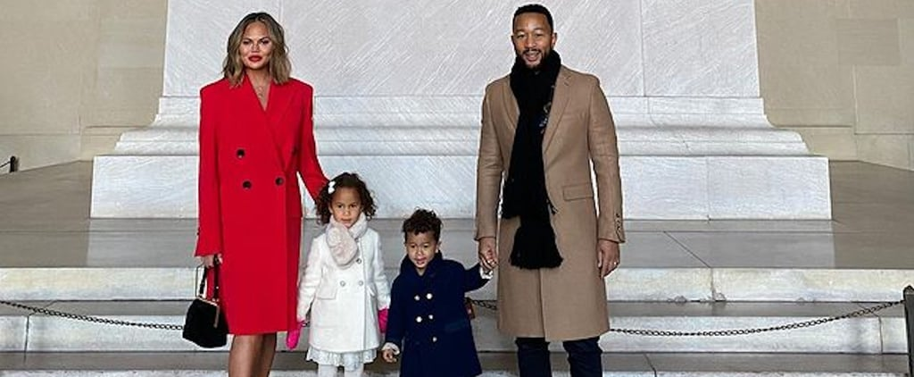 Chrissy Teigen and Her Kids Wear Red, White, and Blue Coats