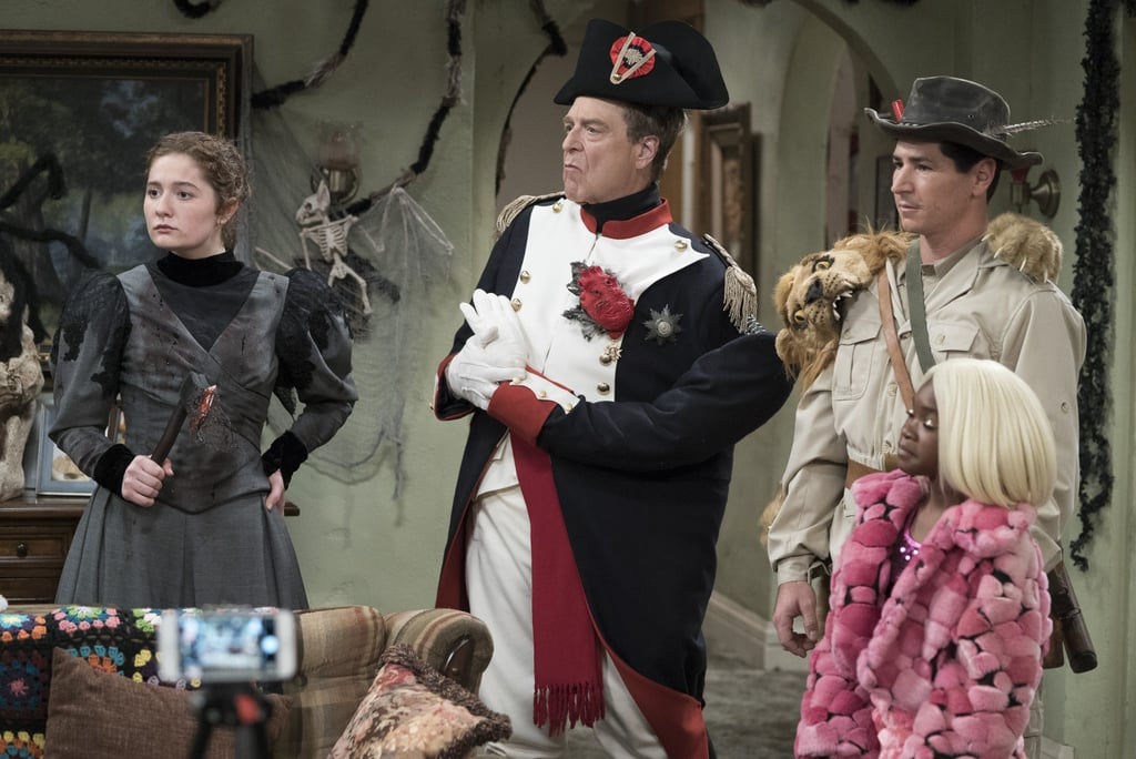 """The Conners went all out for Halloween, and we can't get enough of their costumes. In the festive episode, """"There Won't Be Blood,"""" the family ups the ante with their spooky ensembles in hopes of winning a local Instagram contest. Aunt Jackie opts for a Lanford High cheerleader's uniform with intestines hanging out, Dan goes as Napoleon Blown Apart (the famous war leader with his organs exposed), DJ as a big game hunter being attacked by lions, Harris as Lizzie """"Boredom,"""" and Mary as Scary J. Blige. Our favorite is, obviously, Becky's take on Sharknade O'Connor, which sees her wearing a bald cap and surrounded by a tornado of sharks.      Related:                                                                                                           The Conners Premiere Confirms the Dark Way Roseanne Barr's Character Is Killed Off               Of course the holiday, which was the late Roseanne's favorite, doesn't go off completely without a hitch; young Mark is told that his Fortnite-themed costume for the school carnival is banned since it's considered violent or offensive. Instead he whips up a colorful ode to Frida Kahlo, but that also gets a nope from the Principal — he decides the Kahlo costume is culturally insensitive since Mark is not Hispanic, prompting the sitcom to dig into how far is too far in terms of """"PC culture."""" The episode ends with the Halloween bash at 714 Delaware Street, with guest star Matthew Broderick playing Peter, a new love interest for Aunt Jackie. Check out all the gang's Halloween looks ahead!"""