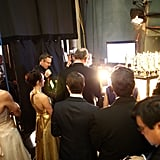 A candid moment captured at the 2013 Oscars.