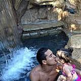 Mario Lopez shared a sweet kiss with his daughter, Gia, as the two went swimming together.  Source: Twitter user MarioLopezExtra