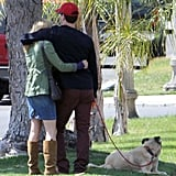 Jon Hamm and Jennifer Westfeldt showed PDA in LA while walking their dog.