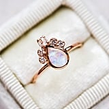 Pear Moonstone Crown Ring in Rose Gold