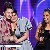 Katie Silberman, Kaitlyn Dever, Beanie Feldstein, and Billie Lourd at the 2020 Spirit Awards