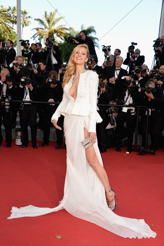 73dc084603 Petra Nemcova s embellished peplum jacket met a flowing chiffon skirt that  billowed all around her as it caught the wind