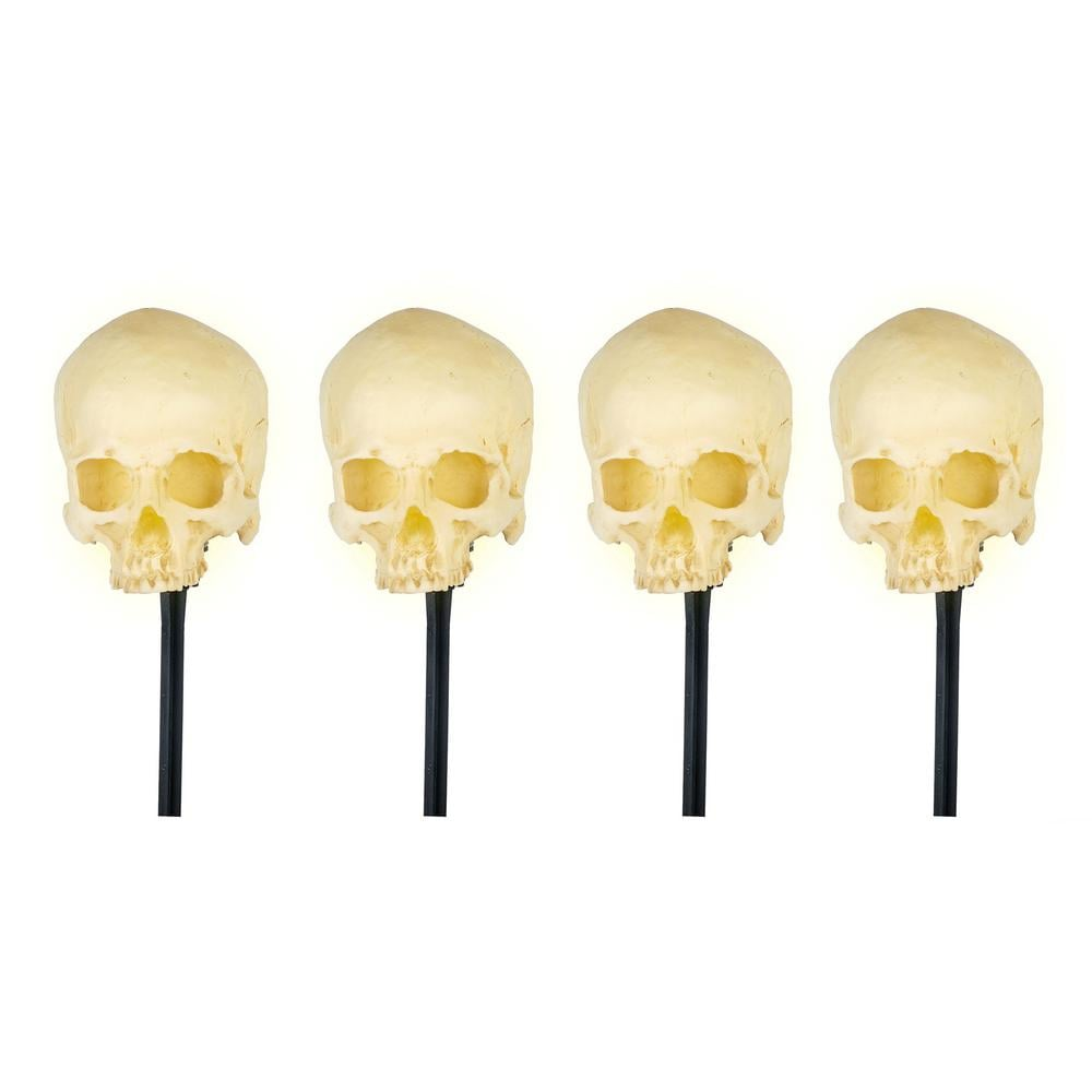 Blow Molded Skull Pathway Markers with LED Illumination (Set of 4) ($20)