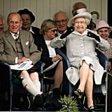Queen Elizabeth II reacts at the Braemar Gathering in 2006